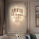 4-Tier Wall Lighting Modern Clear Crystal Rectangle 2 Bulbs Corridor Wall Light Kit