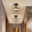 Single-Bulb Foyer Ceiling Light Postmodern Brass Semi Flush Light with Ball Glass Shade