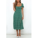 Ditsy Floral Printed Puff Sleeve Sweetheart Neck Bow Tied Glamorous Midi Pleated A-line Dress in Green