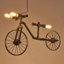 Steampunk Bike Shaped Pipe Pendant Lamp 3 Bulbs Metal Hanging Island Light in Black