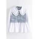 Fancy Girls Shirt False Two Piece Long Sleeve Peter Pan Collar Button Up Relaxed Fit Shirt Top in White