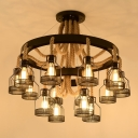 Cage Hanging Chandelier Rustic Black Metal Ceiling Pendant Light with Mesh Screen and Hemp Rope