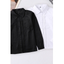 Fancy Women's Shirt Blouse Solid Color Pleated Front Chest Pocket Button Fly Point Collar Long Sleeve Regular Fitted Shirt Blouse