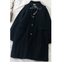 Fancy Women's Woolen Coat Button Fly Peter Pan Collar Flap Pocket Long Sleeve Relaxed Fit Woolen Coat