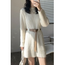 Leisure Women's Sweater Dress Ribbed Trim Mock Neck Long Sleeve Mini Sweater Dress with Waist