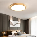Geometric Shape Wooden Ceiling Lamp Nordic Style LED Flush Mount with Acrylic Diffuser