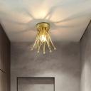 Metal Crown Shaped Mini Ceiling Lighting Modern 1-Light Foyer Semi Flush Mount in Gold