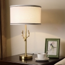 Rustic Drum Shade Nightstand Light 1 Head Fabric Table Lamp with Border in White