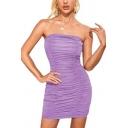 Gorgeous Womens Dress Plain Off Shoulder Ruched Mini Tight Tube Dress