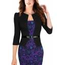 Womens Popular Dress Patched Half Sleeve Belted Floral Print Mid Sheath Dress