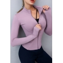 Basic Women's Hoodie Solid Color Zip Fly Long Sleeve Regular Fitted Training Hoodie