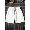 Men's Summer Trendy Letter Patchwork Drawstring Waist Relaxed Sweat Shorts