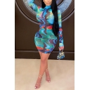 Blue Dress Abstract Print Long Sleeve Mock Neck Short Tight Unique Dress for Girls
