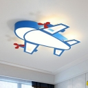 Airplane Acrylic LED Flushmount Ceiling Lamp Cartoon Blue Finish Flush Light Fixture for Kids Bedroom