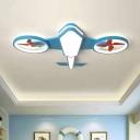 Plane Metallic LED Flushmount Light Kids Flush Mount Ceiling Lighting Fixture for Nursery