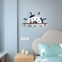 Wooden Rudder LED Sconce Fixture Mediterranean Blue and White Wall Light for Kids Room