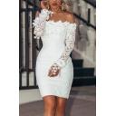 Pretty Womens Dress Plain Applique Off the Shoulder Short Tight Dress in White