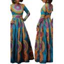 Womens Fancy Dress Geometric Pattern Back Zip Pleated Crew Neck Long Sleeve Fitted Maxi A-Line Dress