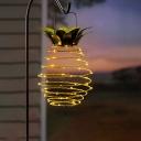 Pineapple LED Hanging Light Modern Metal Outdoor Solar Pendant Light in Gold, 1 Piece