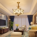 4 Bulbs Ceiling Lighting Traditional Drum Glass Panel Chandelier Light Fixture in Gold
