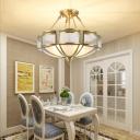 Gold Dome Chandelier Light Minimalism Glass Panes Dining Room Semi Flush Light Fixture
