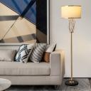 Drum Shade Living Room Floor Lamp Vintage Fabric Single-Bulb Brass Standing Lighting