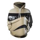 Star Wars Comic Figure 3D Printed Drawstring Hooded Long Sleeve Khaki Loose Hoodie