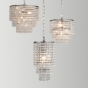 Tiered Dangling Crystal Chandelier Light Antique Entryway Pendant Light Fixture in Chrome