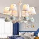 Whale Resin Hanging Pendant Light Cartoon White Chandelier with Print Fabric Shade
