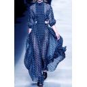 Ladies Designer Dress Patterned 3/4 Sleeve Mock Neck Cut Out Maxi A-line Dress in Blue