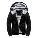 Mens Casual Hoodie Sherpa Liner Contrasted Long Sleeve Hooded Zip Up Slim Fit Hoodie