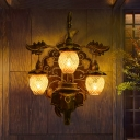 Brown Sconce Lighting South-East Asia Wooden Elephant Wall Lamp with Oval Rattan Shade