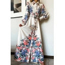Trendy Women's Shirt Dress Floral Pattern Button Closure Turn-down Collar Long Bishop Sleeves Long Shirt Dress with Buckle