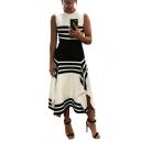 Women's New Style Round Neck Sleeveless Stripes Printed Midi Swing Tank Dress