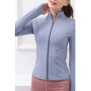 Womens Yoga Jacket Athletic Solid Color Quick Dry Zipper down Skinny Fit Long Sleeve Stand Collar Jacket