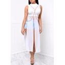 Unique Womens Dress Mesh Patchwork Slit Design High Rise Sleeveless Maxi Stand Collar Asymmetrical Dress