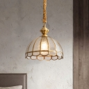 Hemisphere Dining Room Pendant Light Fixture Antique Water Glass 1-Light Gold Hanging Lamp with Scalloped Trim