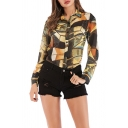 Womens Fashionable Shirt Mixed Printed Long Sleeve Spread Collar Button Up Regular Fit Shirt Top in Yellow