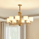 Up Chandelier Minimalist Living Room Pendant Light with Cylinder Opal Glass Shade in Brass