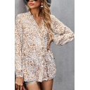 Classic Womens Shirt Leopard Skin Pattern Button up Long Sleeve Tunic V Neck Relaxed Fit Shirt