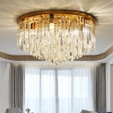 Modern Style Ceiling Flush Light Round Flush-Mount Light with Crystal Shade for Bedroom