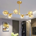Postmodern 7-Light Chandelier Brass Molecular Pendant Light with Dimpled Cup Glass Shade