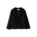 Formal Womens Blazer Plain Long Sleeve Notched Collar Long Sleeve Single Breasted Relaxed Blazer in Black