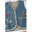 Unique Women's Denim Vest Cherry Chicken Embroidered Lace Trim Front Pocket Button Fly Sleeveless Relaxed Fit Denim Vest
