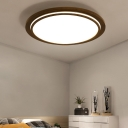 Wooden Round Flush Mount Light Fixture Simple Style Brown LED Ceiling Mounted Light