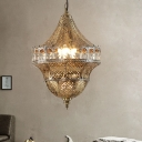 Antiqued Gold Single Ceiling Pendant Turkish Metal Broderie Lantern Hanging Light Fixture