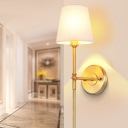 Brass Finish Pencil Arm Sconce Minimalist Metal Living Room Wall Light with Cone Shade