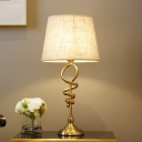 1-Light Night Stand Lamp Minimalist Tapered Fabric Table Light in Beige for Bedroom