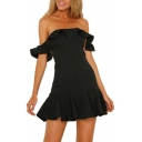 Womens Amazing Dress Solid Color Off the Shoulder Ruffled Mini A-line Dinner Dress