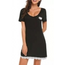 Leisure Womens Dress Lace Patched Short Sleeve Scoop Neck Short A-line Tee Dress